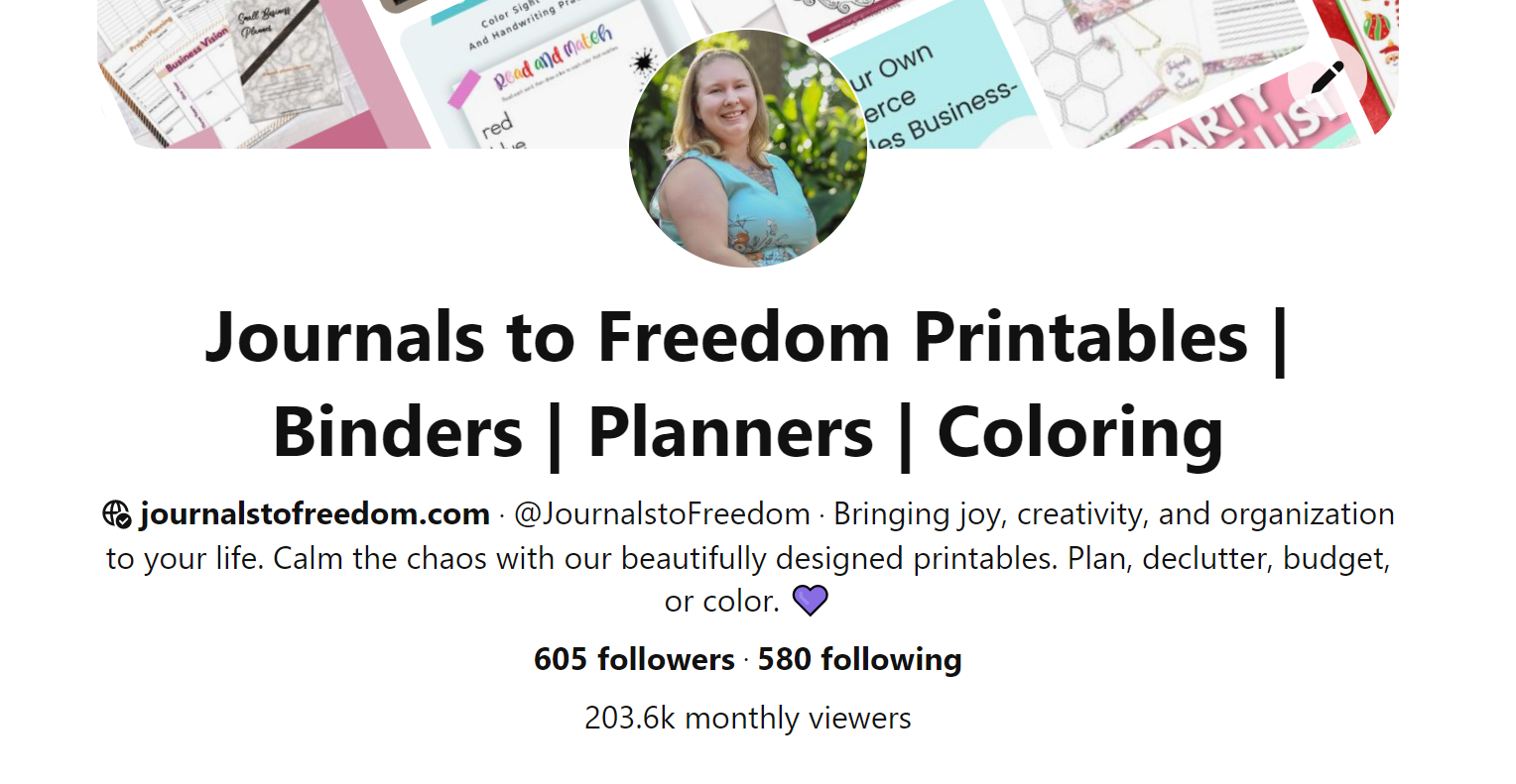 Pinterest profile Journals to Freedom Printables
