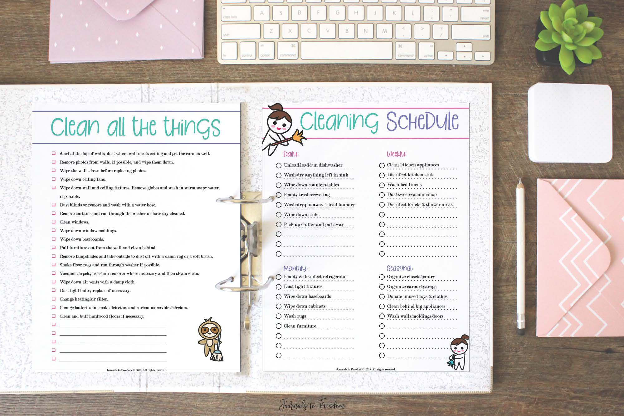 Spring Cleaning Planner by Journals to Freedom Printables