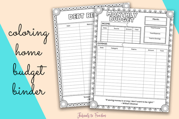 Coloring Home Budget Printable Binder