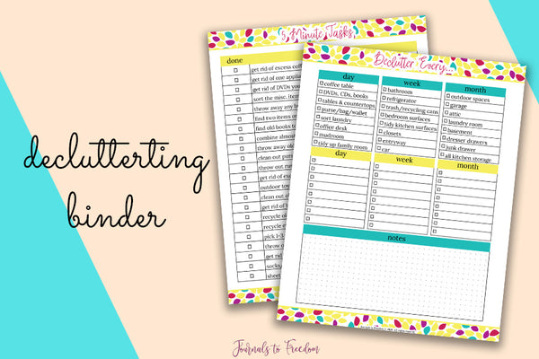 Decluttering Printable Binder from Journals to Freedom