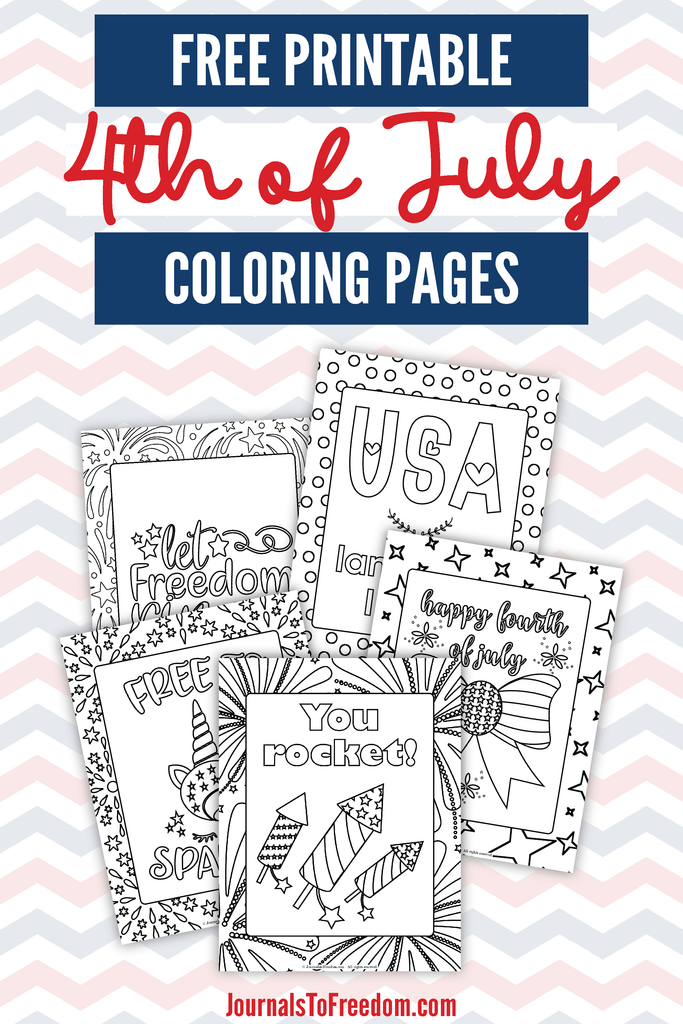 5 free printable 4th of july coloring pages shown on a red white and blue zig zag background