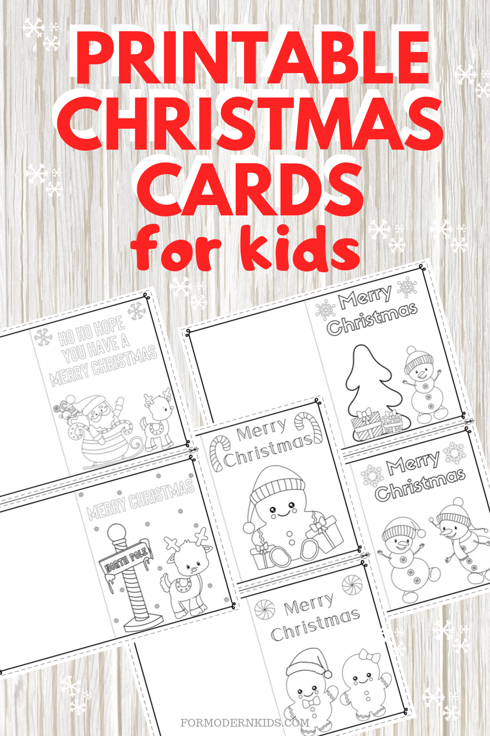 Printable Christmas Cards for Kids from For Modern Kids