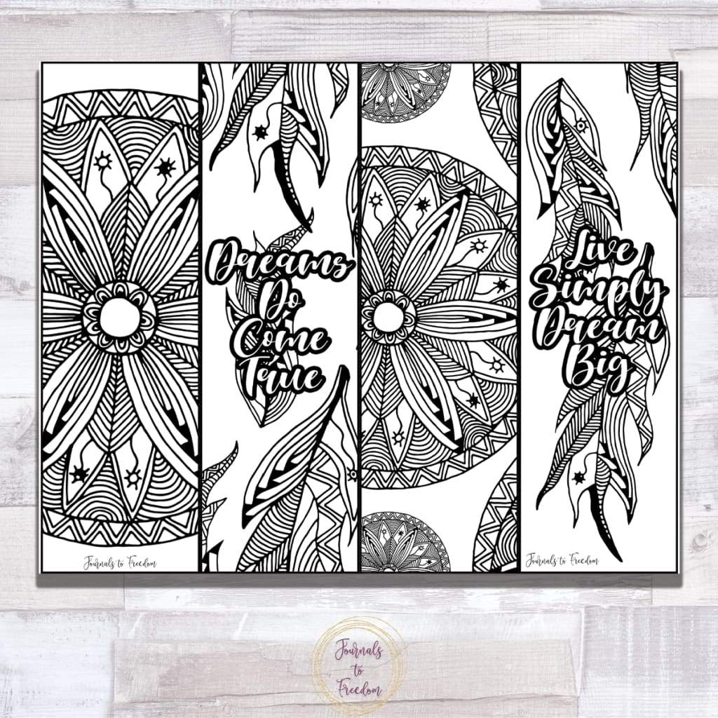 Colorable Dreamcatcher Bookmarks {1 Page}