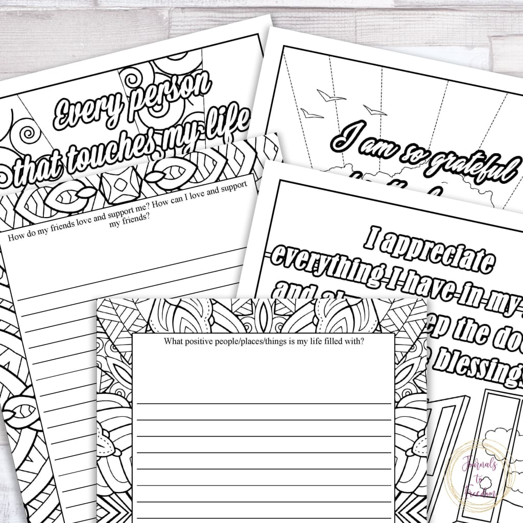Gratitude & Positive Affirmations Coloring Journal for