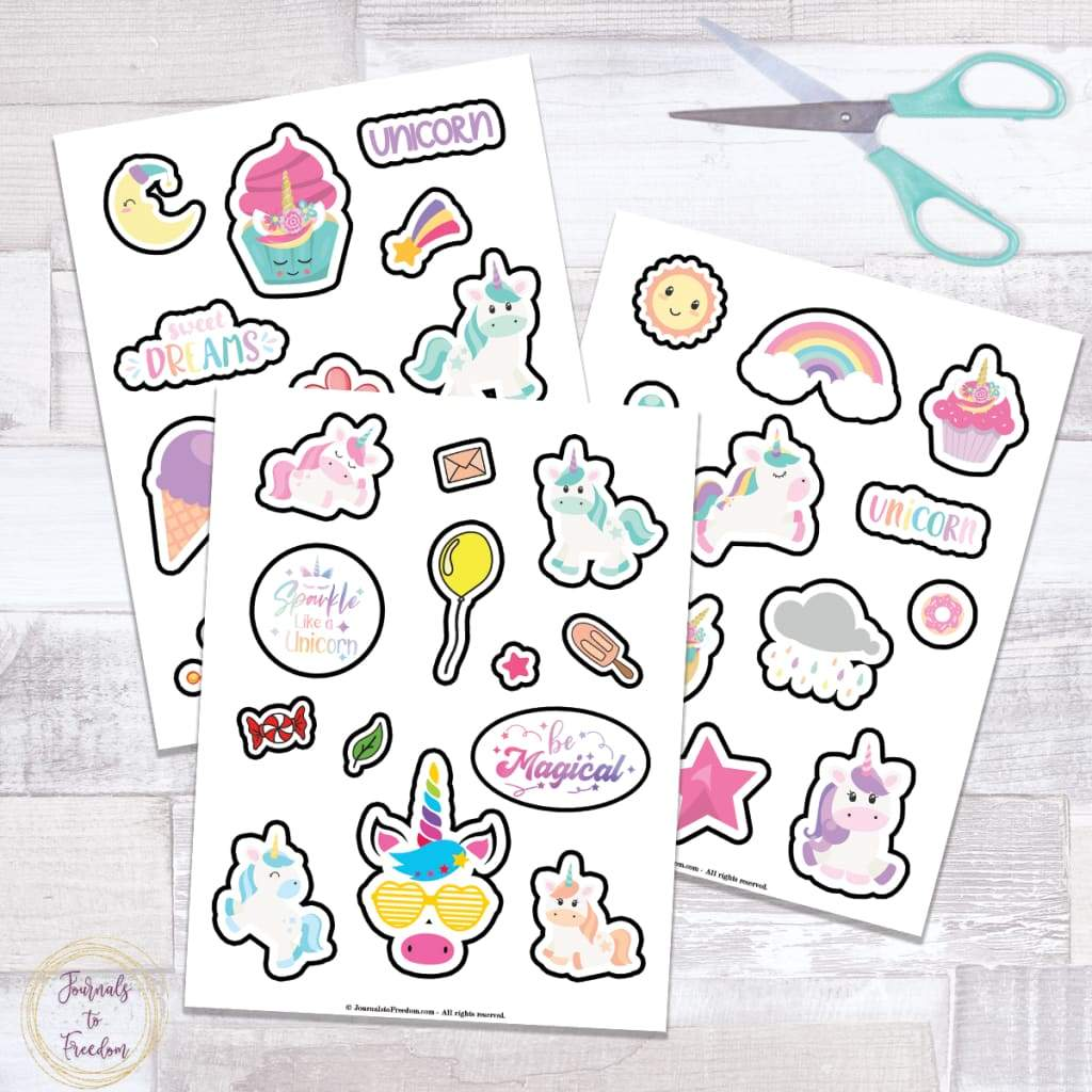 Cute Unicorn Stickers {3 Pages}