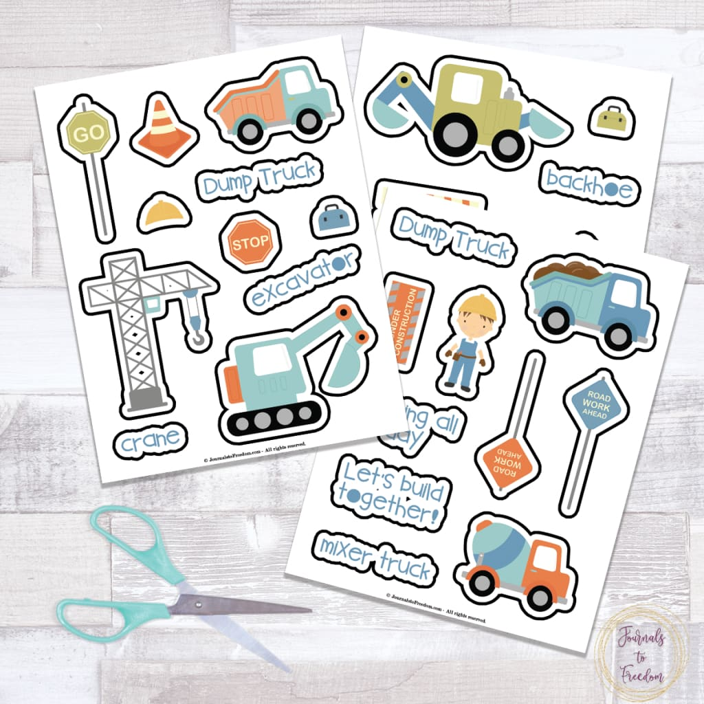 Cute Construction Zone Stickers {3 Pages}