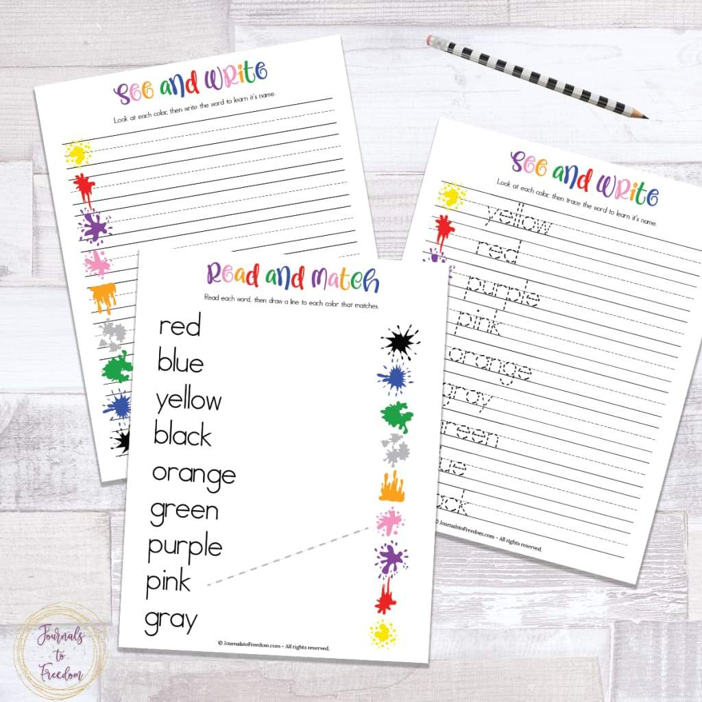 Color Sight Words & Handwriting Practice Sheets {3 Pages}