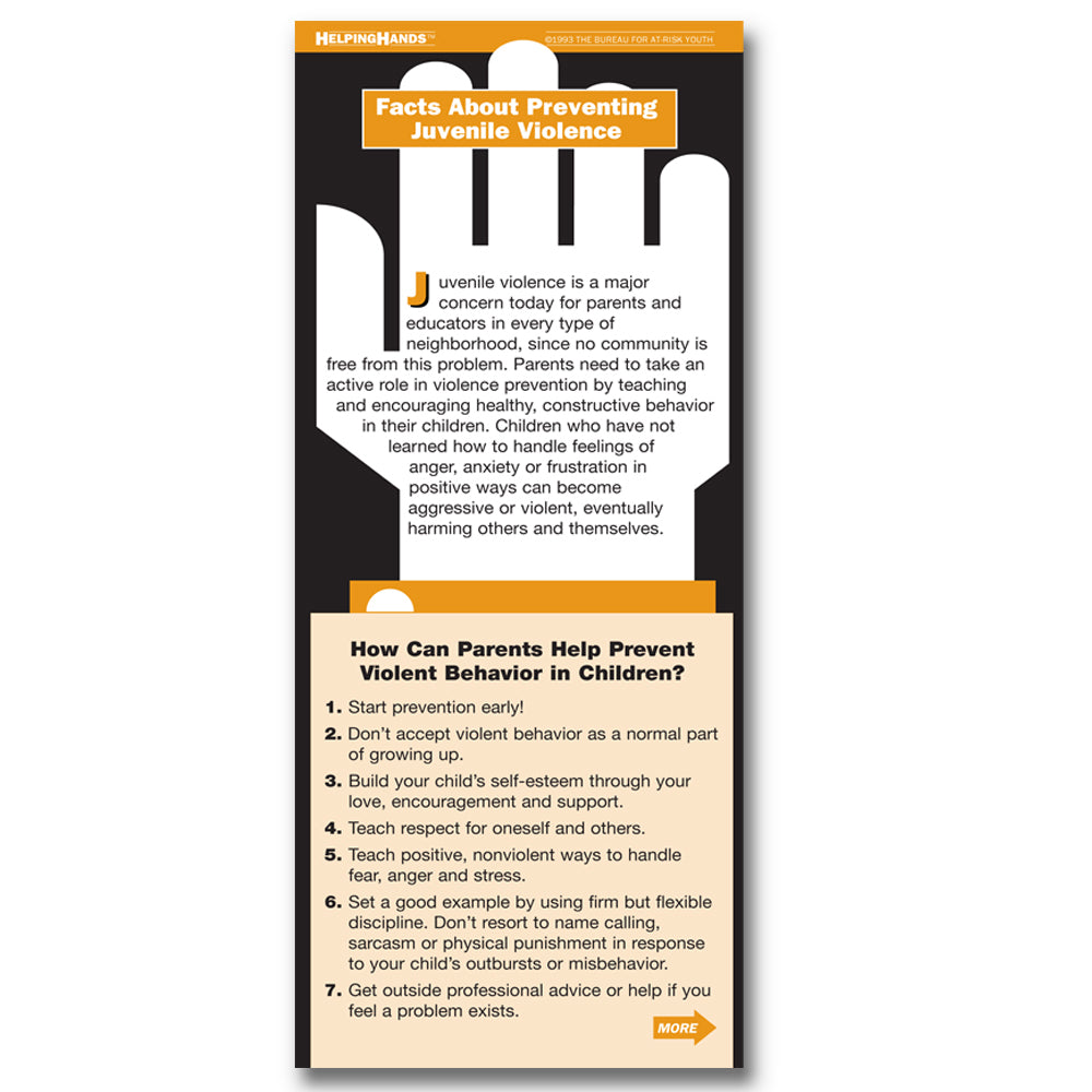 Helping Hands Card: (25 pack) Facts About Preventing Juvenile Violence