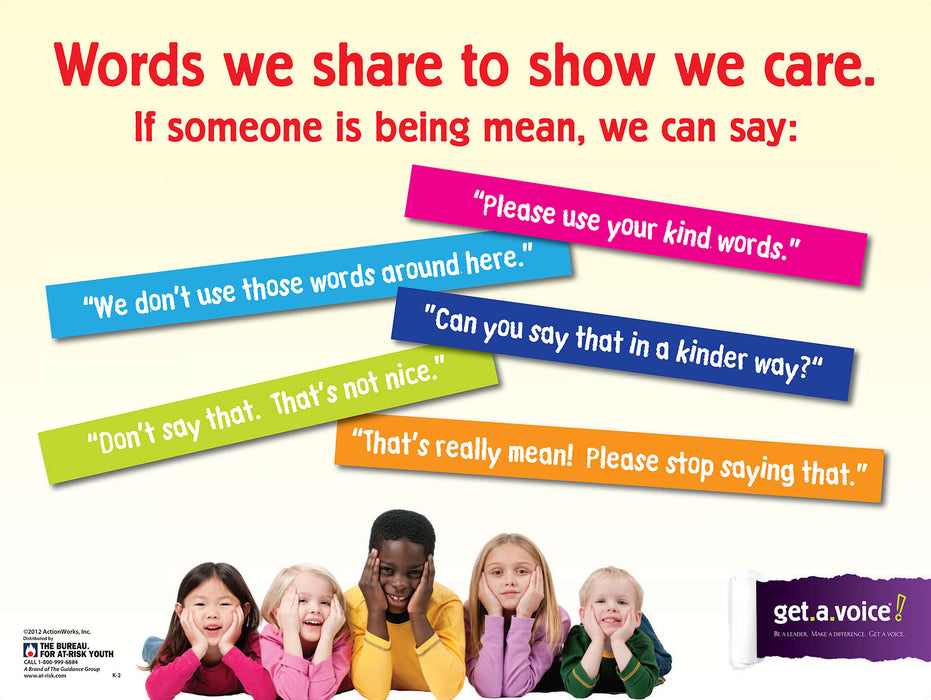 "Get.A.Voice! (Grades K-2) Bullying Prevention ""Words We Share"" Poster"