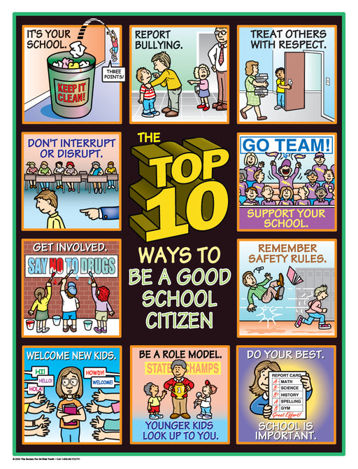 The Top 10 Ways to Be a Good School Citizen Poster