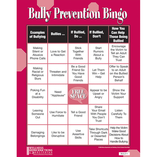 Bully Prevention Bingo Game