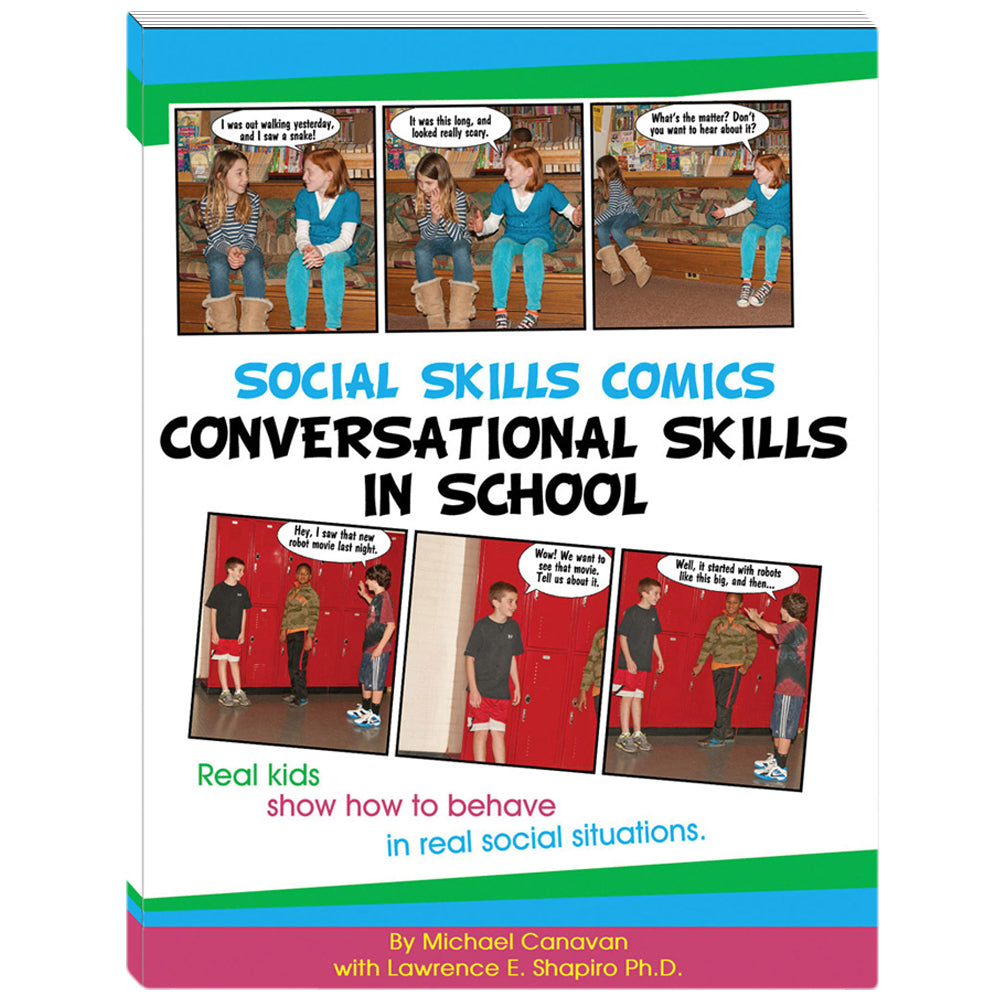 Social Skills Comics for Kids: Conversational Skills in School Book w/CD