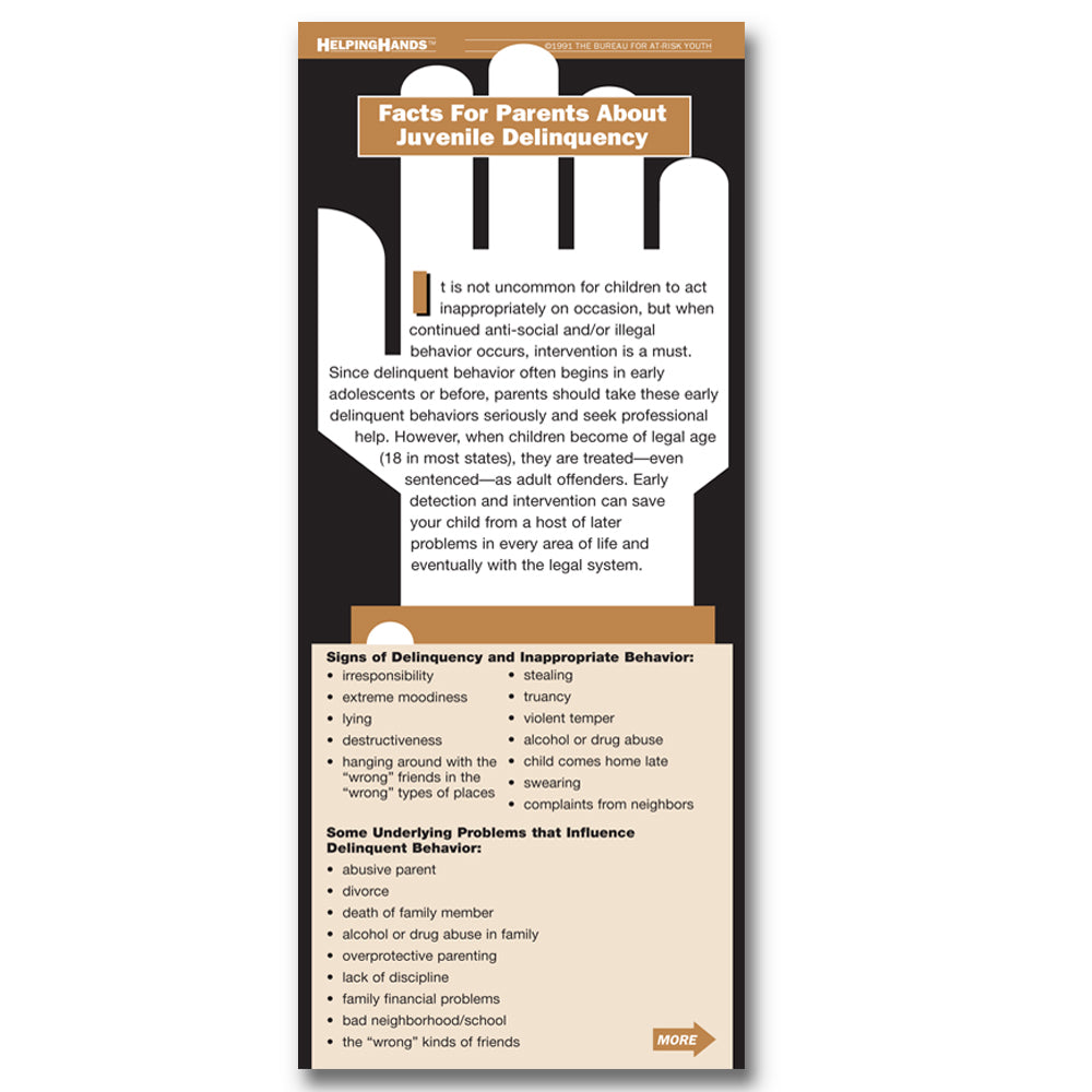 Helping Hands Card: (25 pack) Facts for Parents About Juvenile Delinquency