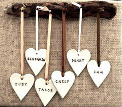 DRIFTWOOD MOUNTED NAME HEARTS