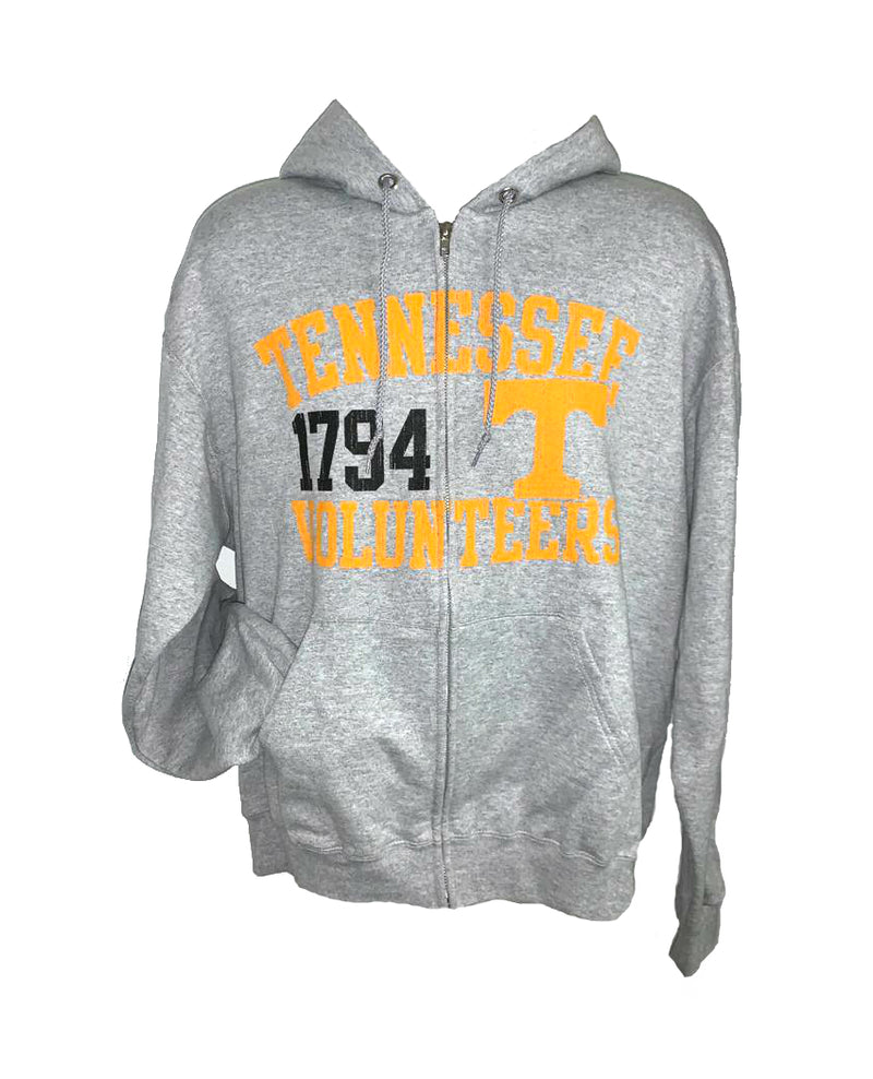 Tennessee Volunteers NCAA Full Zip Varsity Hoodie Gray Adult