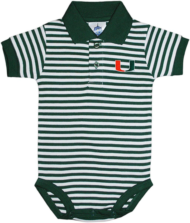 Miami Hurricanes Collar Striped Infant Baby Onesie Bodysuit