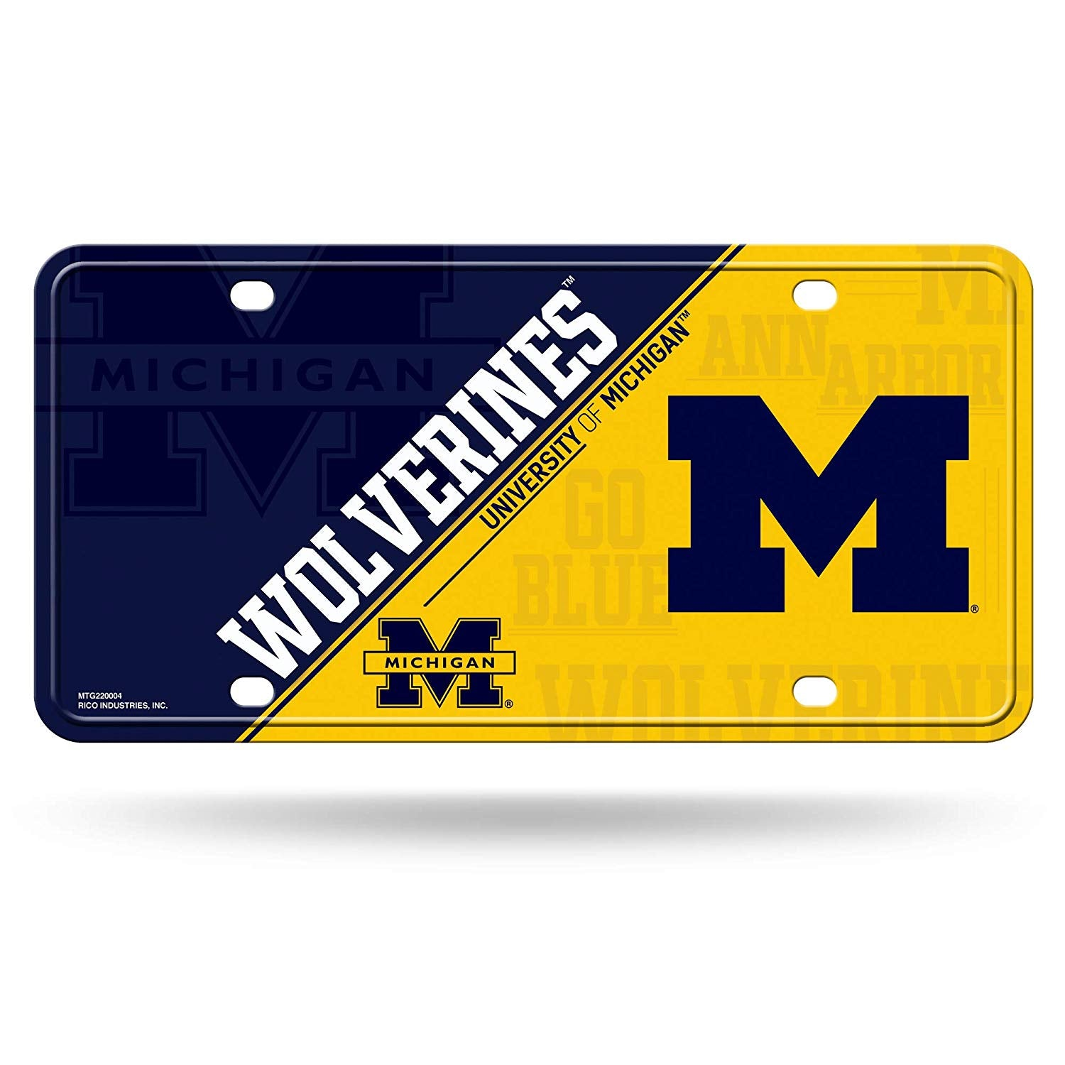 NCAA Michigan Wolverines Metal License Plate Tag