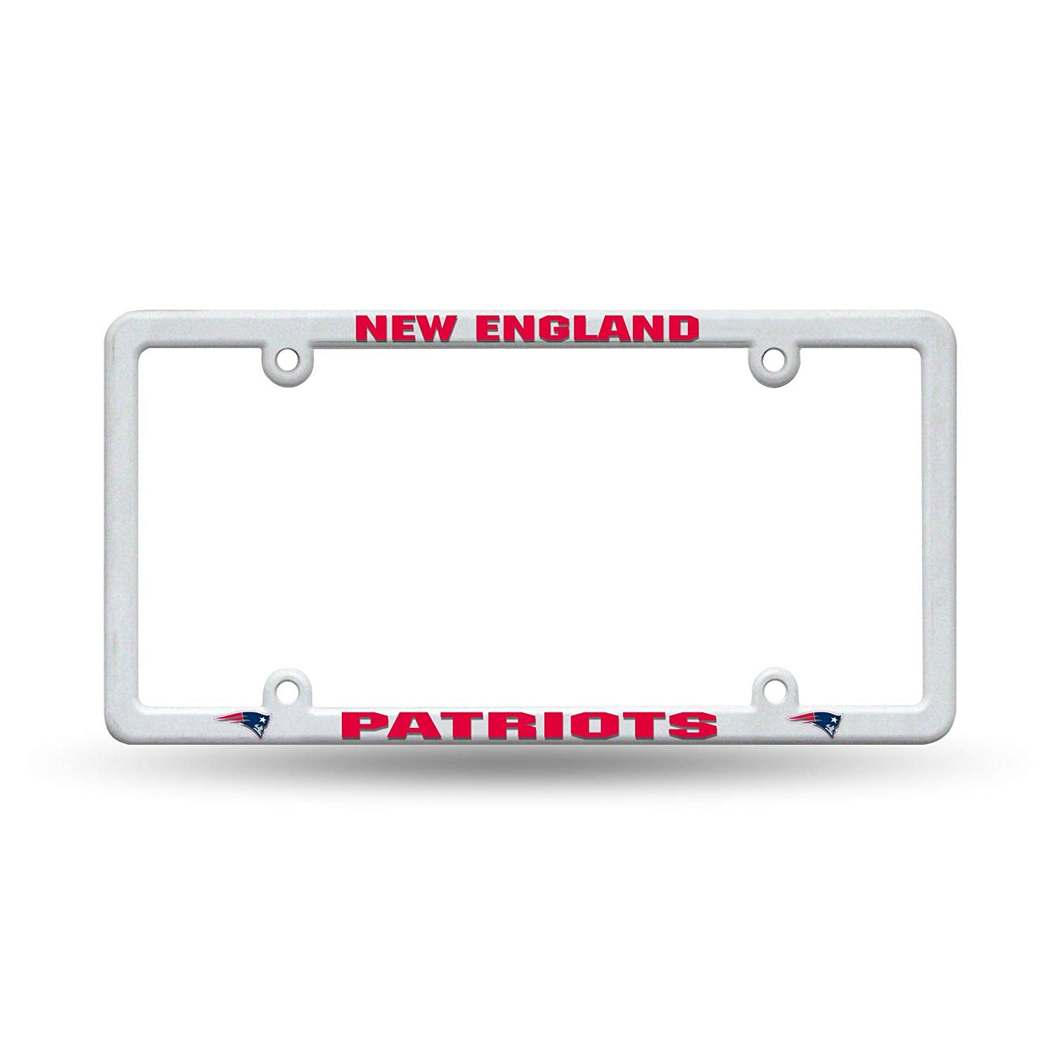 Official NFL New England Patriots White Plastic Auto, Truck License Plate Frame