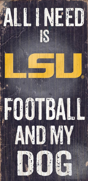 LSU Tigers Football And My Dog Wooden Rope Sign