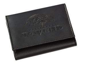 Baltimore Ravens Black Leather Tri-Fold Wallet