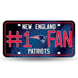 NFL New England Patriots #1 Fan Metal License Plate Tag