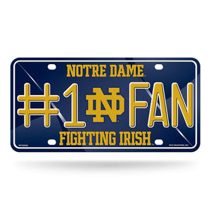 NCAA Notre Dame Fighting Irish #1 Fan Metal License Plate Tag