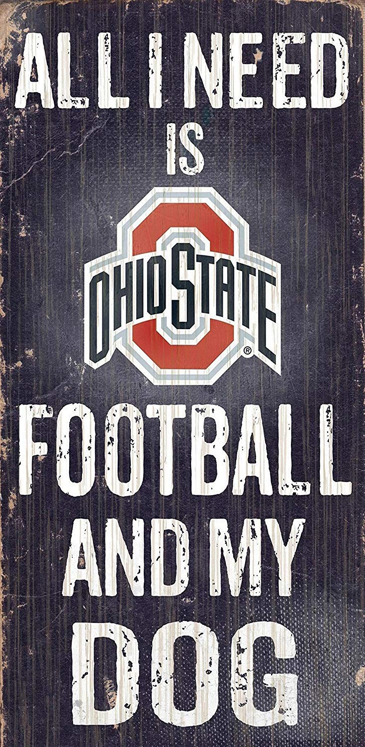 Ohio State Buckeyes Football And My Dog Wooden Rope Sign