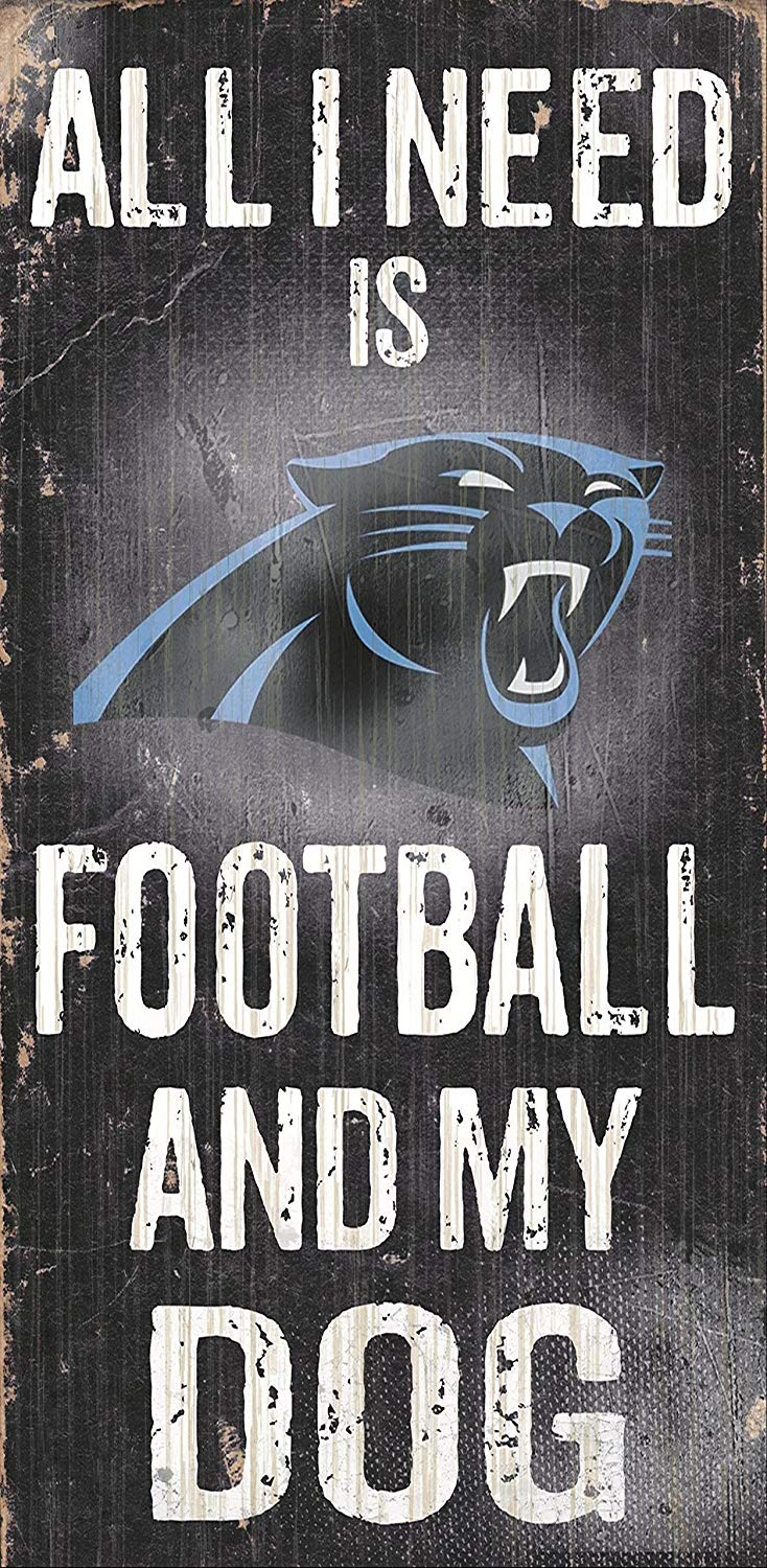 Carolina Panthers Football And My Dog Wooden Rope Sign