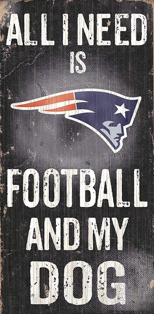New England Patriots Football And My Dog Wooden Rope Sign