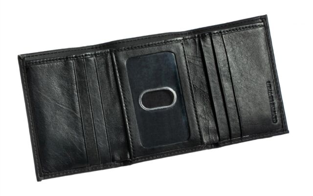 New England Patriots Black Leather Tri-Fold Wallet