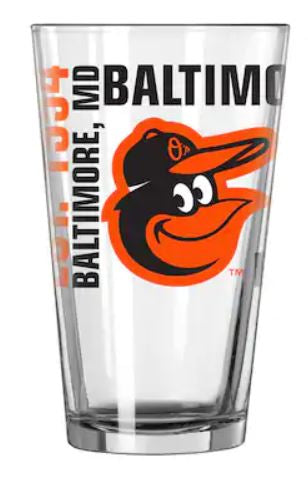 Baltimore Orioles Baseball Pint Glass