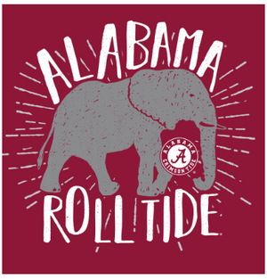 Alabama Crimson Tide Type Lined Mascot Silhouette Basic Short Sleeve T-Shirt