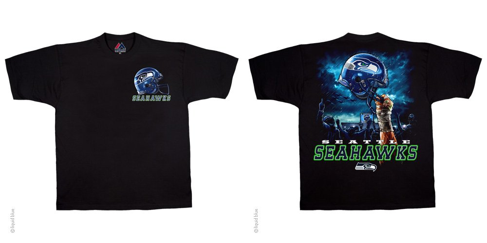 Seattle Seahawks Sky Helmet Black T-Shirt