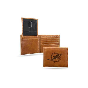 Miami Dolphins Laser Engraved Billfold Wallet
