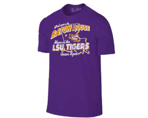 LSU Tigers Welcome to Baton Rouge  Primary Team Color Heather  T-shirt
