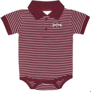 Mississippi State Bulldogs Striped Collar Onesie