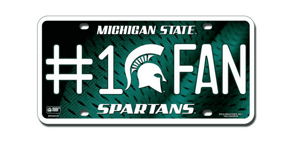 NCAA Michigan State Spartans Metal License Plate Tag