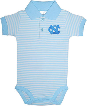 North Carolina Tar Heels Light Blue Striped Collar Onesie