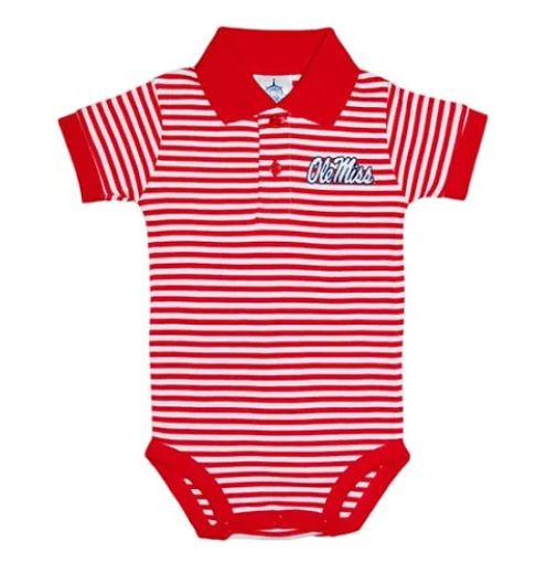 Ole Miss Rebels Collar Striped Infant Baby Onesie Bodysuit
