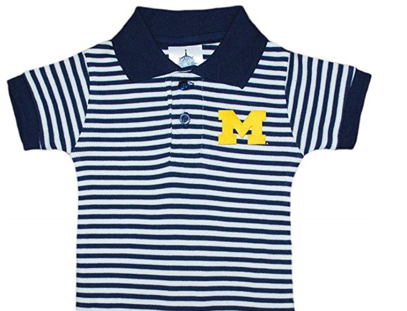 Michigan Wolverines Striped Collared Youth Child Polo Shirt