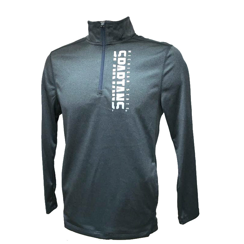 Michigan State Spartans Quarter Zip Pullover (Gray And Silver)