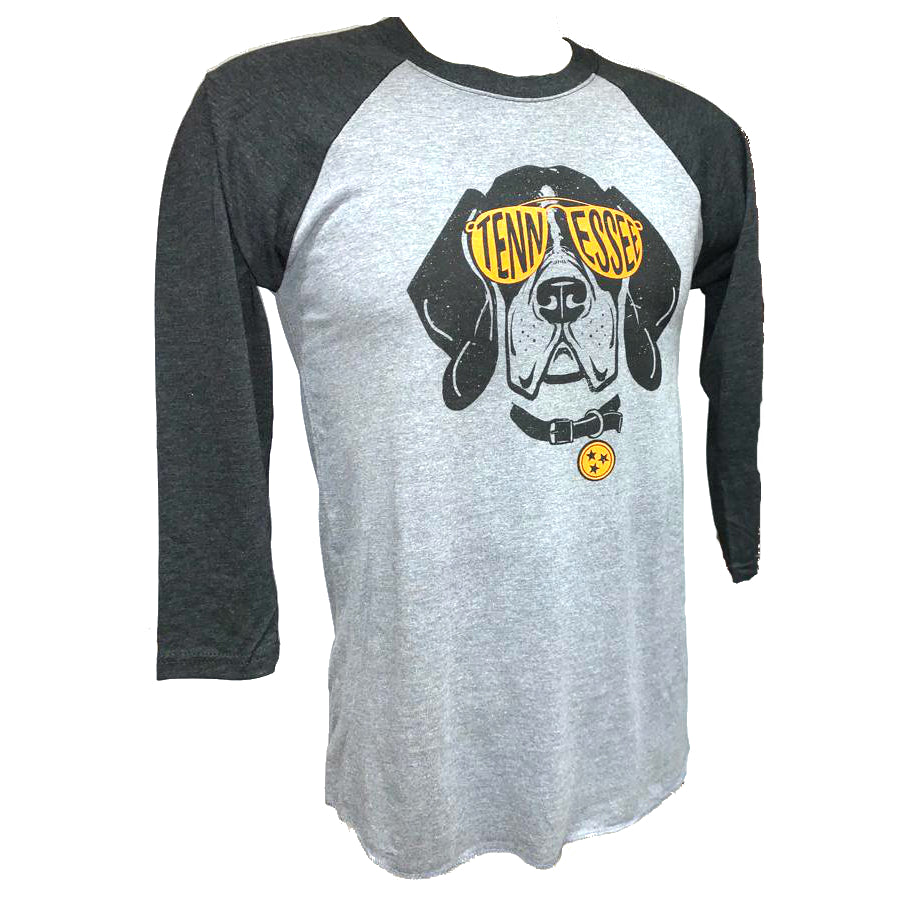 Tennessee Volunteers Smokey Sunglases Dog 3/4 Long Sleeve T-Shirt