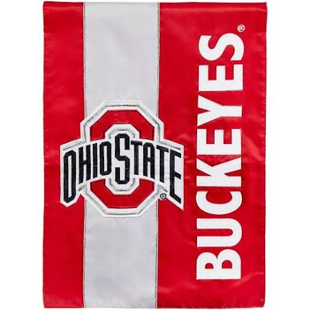 Ohio State Buckeyes Striped Garden Flag