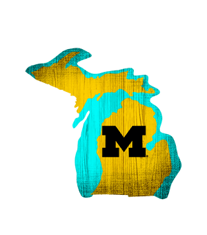 Michigan Wolverines State Team Color Logo Sign