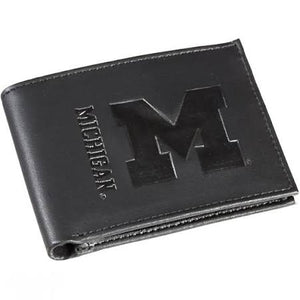 Michigan Wolverines Black Leather Bi-Fold Wallet