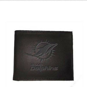 Miami Dolphins Black Leather Bi-Fold Wallet