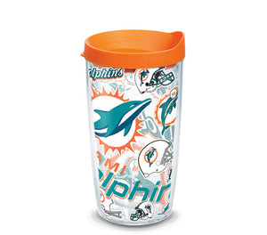 Miami Dolphins All Over 16 Oz Tumbler