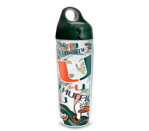 Miami Hurricanes All Over 24 Oz Water Bottle