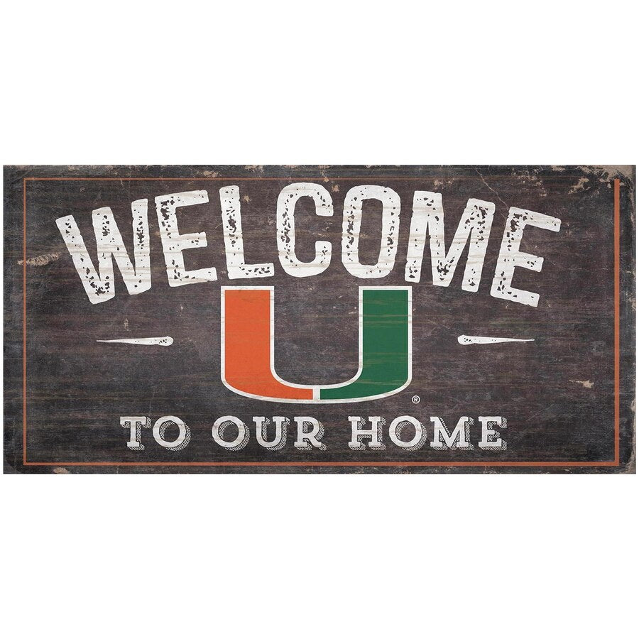 Miami Hurricanes Welcome Distressed Sign