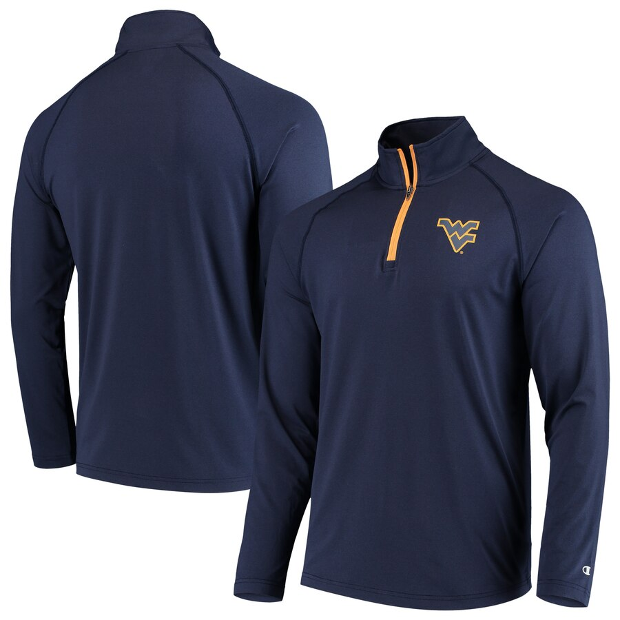 West Virginia Mountaineers Quarter Zip Pullover (Blue And Silver)
